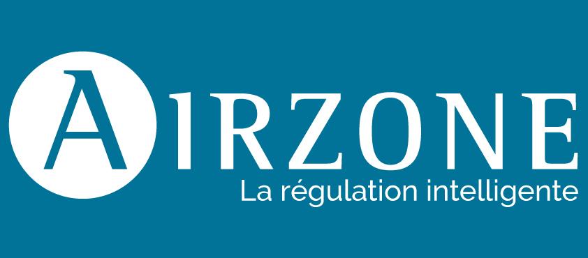 Logo airzone sur fond bleu